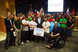 American YouthWorks Members with Mayor Adler