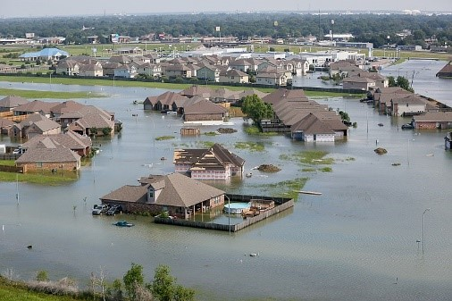 Aerial view of flooding caused by Hurricane Harvey in suburban area. Credit: U.S. Air National Guard photo by Staff Sgt. Daniel J. Martinez