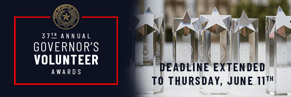 Deadline Extended to Thursday, June 11th - 37th Annual Governor's Volunteer Awards