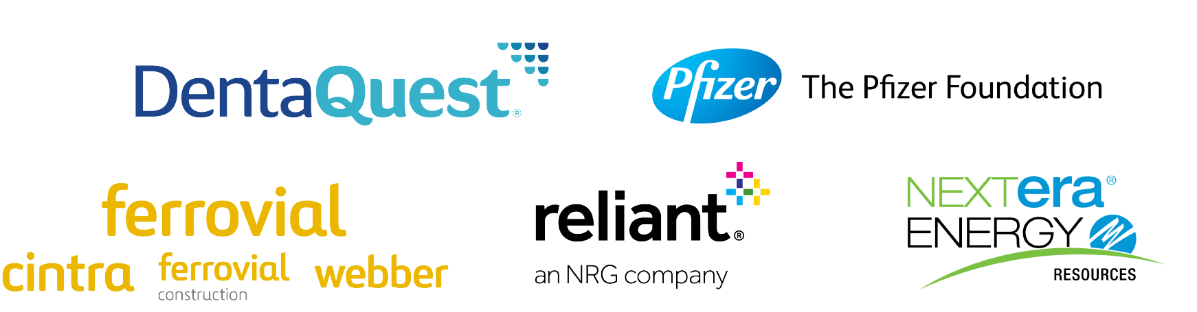 Texas COVID Relief Fund Partners Logo Block - DentaQuest | The Pfizer Foundation | Ferrovial and US subsidiaries | Reliant, an NRG company | NextEra Energy Resources
