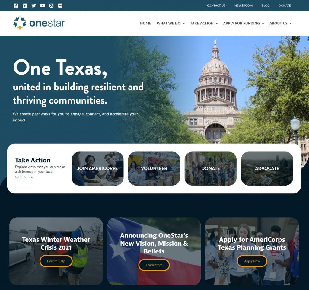 Screenshot of OneStar website