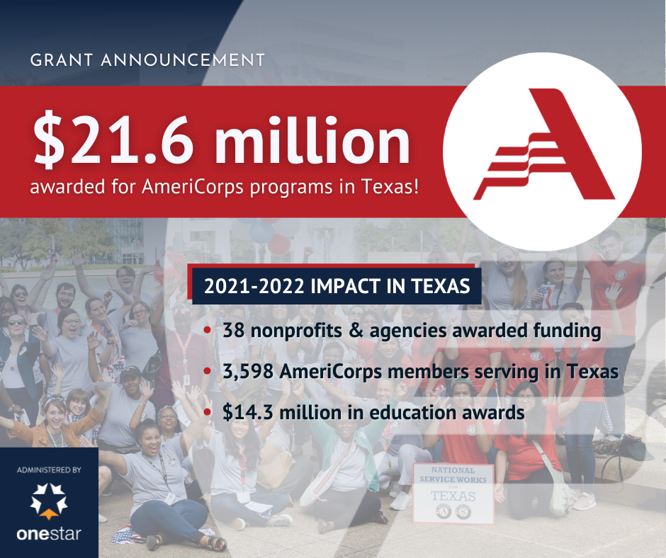 Grant Announcement: $21.6 million awarded for AmeriCorps programs in Texas