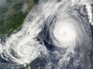 Aerial satellite image of a hurricane.